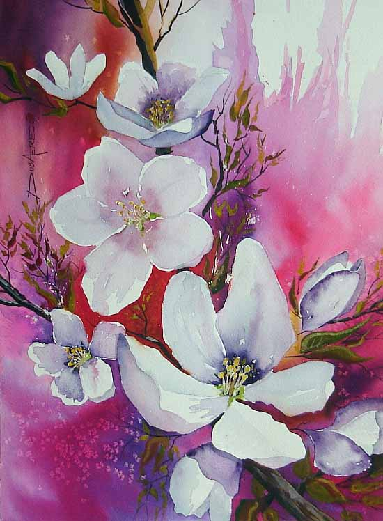 flowers watercolor painting artworks of this professional artist